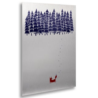 Robert Farkas 'Alone In The Forest' Floating Brushed Aluminum Art