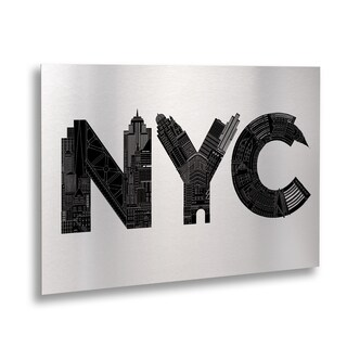 Robert Farkas 'NYC' Floating Brushed Aluminum Art