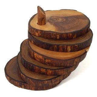 Handmade Le Souk Olivique Olive Wood Set of 6 Natural Form Coasters with Holder (Tunisia)