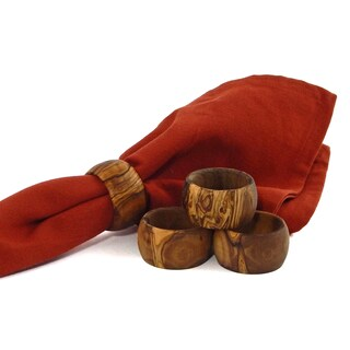 Le Souk Olivique Olive Wood Set of 4 Napkin Rings (Tunisia)