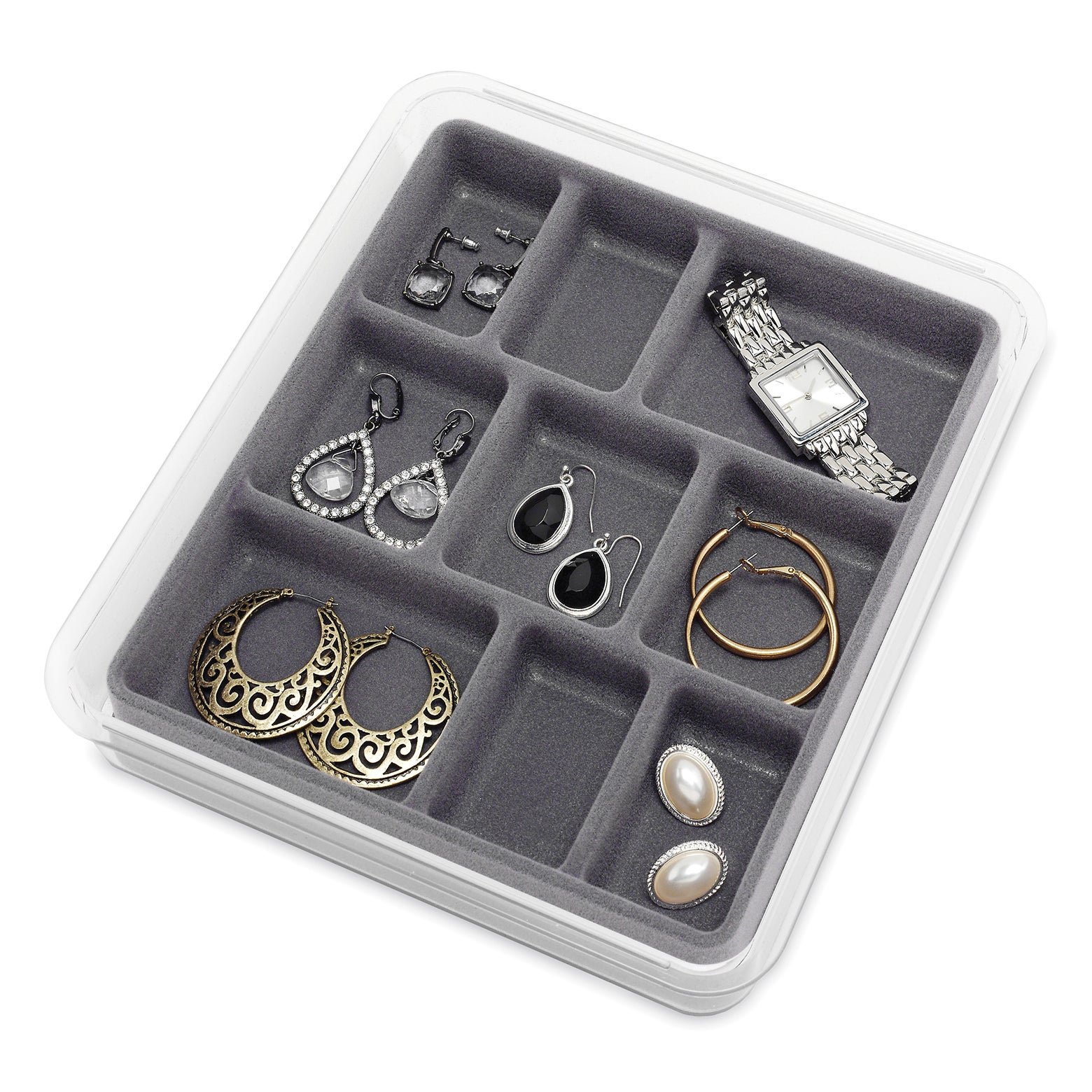 Whitmor Mfg Co 9 Section Clear & Grey Stacking Jewelry Tr...