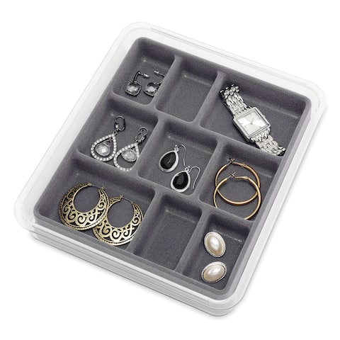 Whitmor 9 Section Clear & Grey Stacking Jewelry Tray