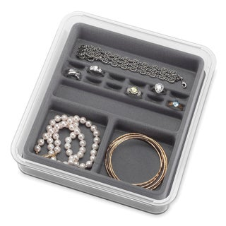 Whitmor 16 Section Grey & Clear Stacking Jewelry Tray