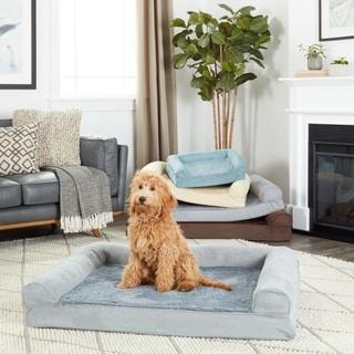 FurHaven Pet Bed | Plush & Suede Orthopedic Sofa Dog Bed
