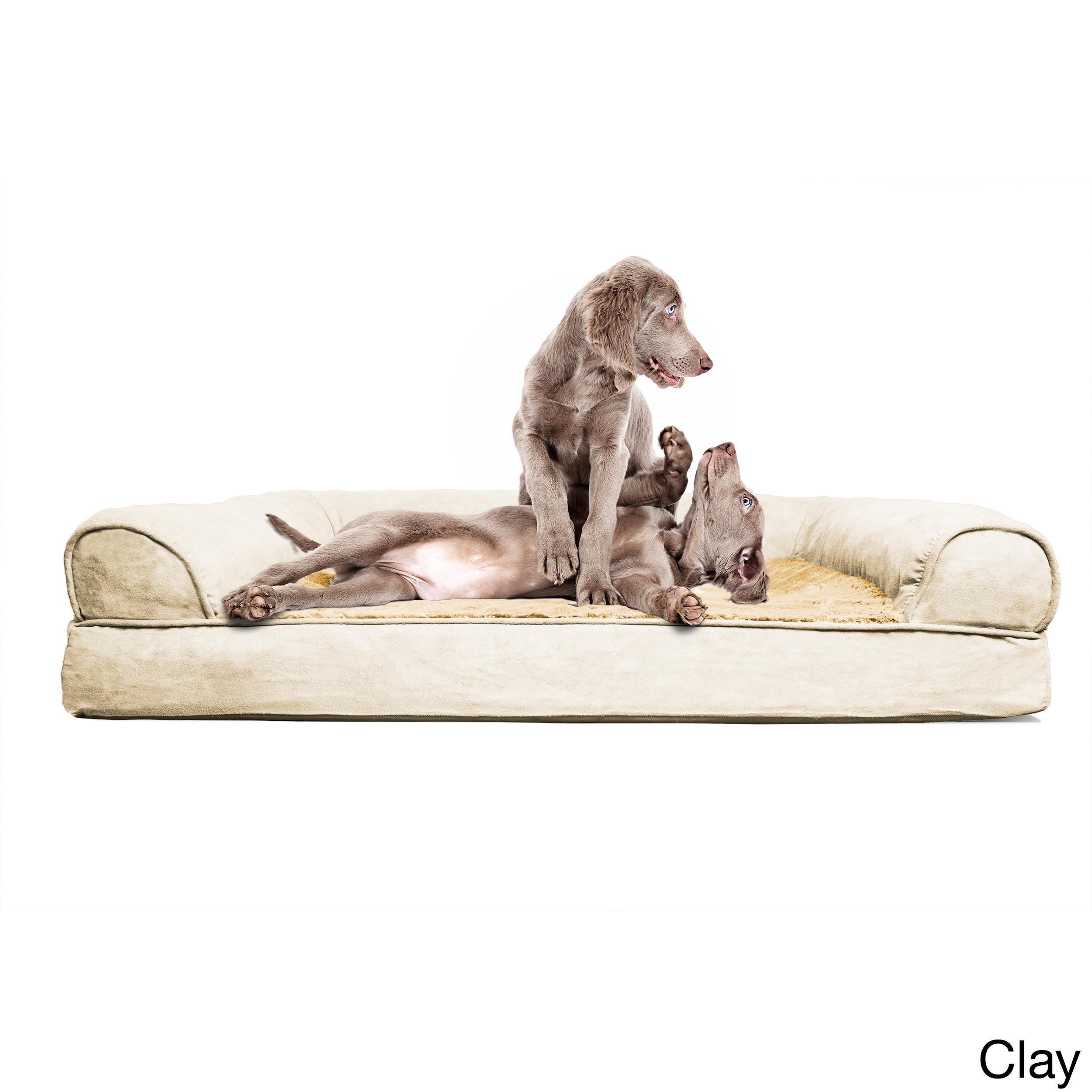 FurHaven Plush & Suede Sofa-Style Orthopedic Bolster Pet ...