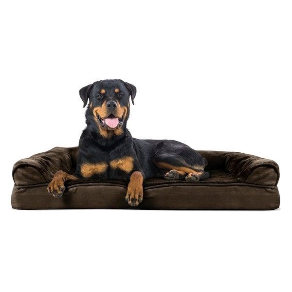 FurHaven Pet Plush & Suede Sofa-Style Orthopedic Dog Bed
