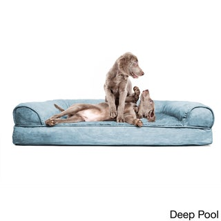 FurHaven Plush & Suede Sofa-Style Orthopedic Bolster Pet Bed (More options available)