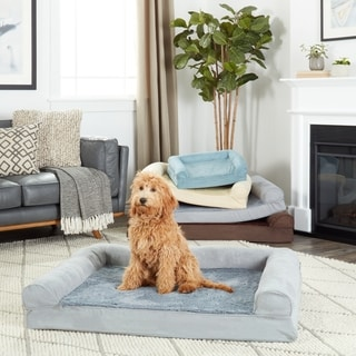 FurHaven Plush & Suede Sofa-Style Orthopedic Bolster Pet Bed