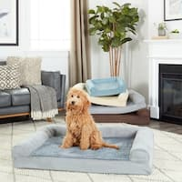 FurHaven Pet Bed | Plush & Suede Orthopedic Sofa Dog Bed