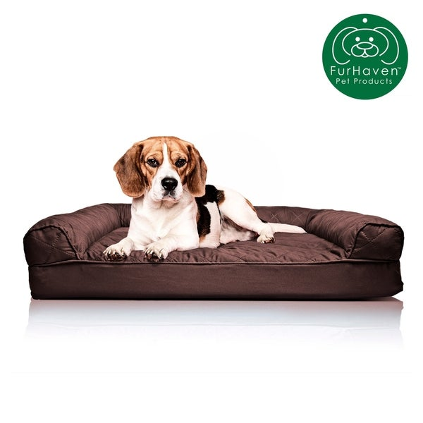 Furhaven Pet Dog Bed Available in Multiple Colors /& Styles Orthopedic Sofa-Style Traditional Living Room Couch Pet Bed w// Removable Cover for Dogs /& Cats