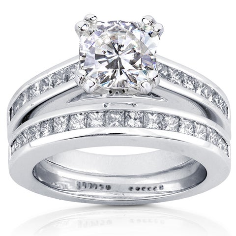 Annello by Kobelli 14k White Gold Forever One Moissanite and 1ct TDW Princess Channel Diamond Bridal
