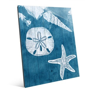 'Sea Treasures' Blue Glass Wall Art
