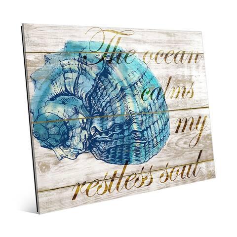 'Ocean Calms My Restless Soul' Glass Wall Art