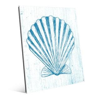 'Seashell on Blue' Glass Wall Art