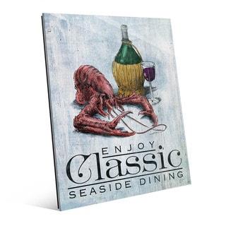 'Classic Lobster' Blue Glass Wall Art