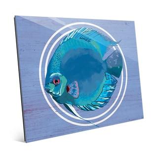 Rainbow Fish Cyan' Glass Wall Art