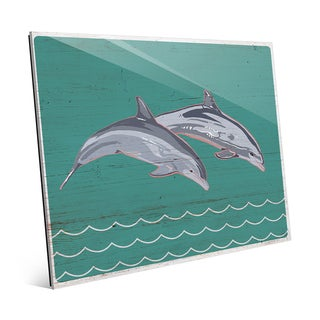 'Leaping Dolphins' Glass Wall Art