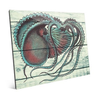 'Aquamarine Octopus' Glass Wall Art