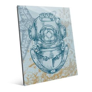 'Diver's Helmet Turquoise' Glass Wall Art