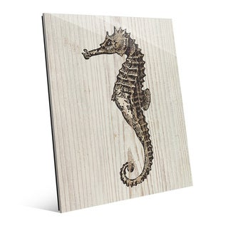 'Rustic Seahorse' Brown Glass Wall Art