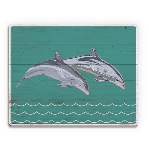 'Leaping Dolphins' Multicolored Wood Wall Art