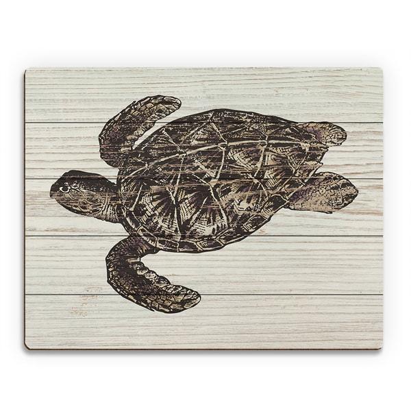 Sea Turtle Brown Wood Rustic Wall Art