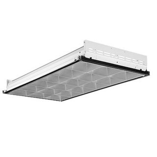 Lithonia Lighting Silver Metal Fluorescent 3-lamp Troffer Light Fixture
