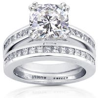 Annello by Kobelli 14k White Gold Forever One Extra Large Cushion Moissanite and 1ct TDW Diamond Pri
