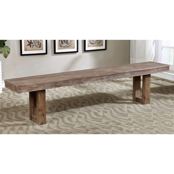 Furniture Of America Treville Country Farmhouse Natural Tone Plank Style Dining  Bench