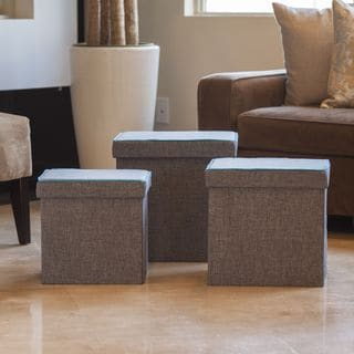 Danya B Folding Storage Ottoman 3 Pc Set - Gray withTurquoise Piping