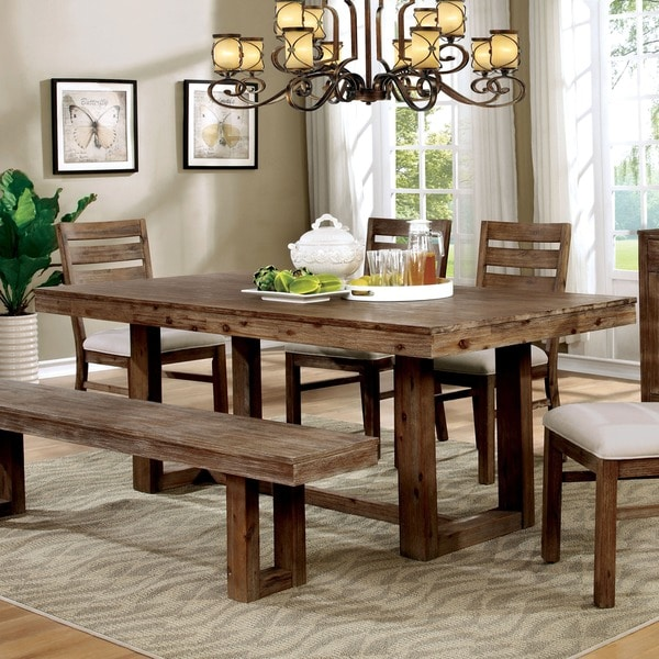 treville country farmhouse natural tone plank style dining table