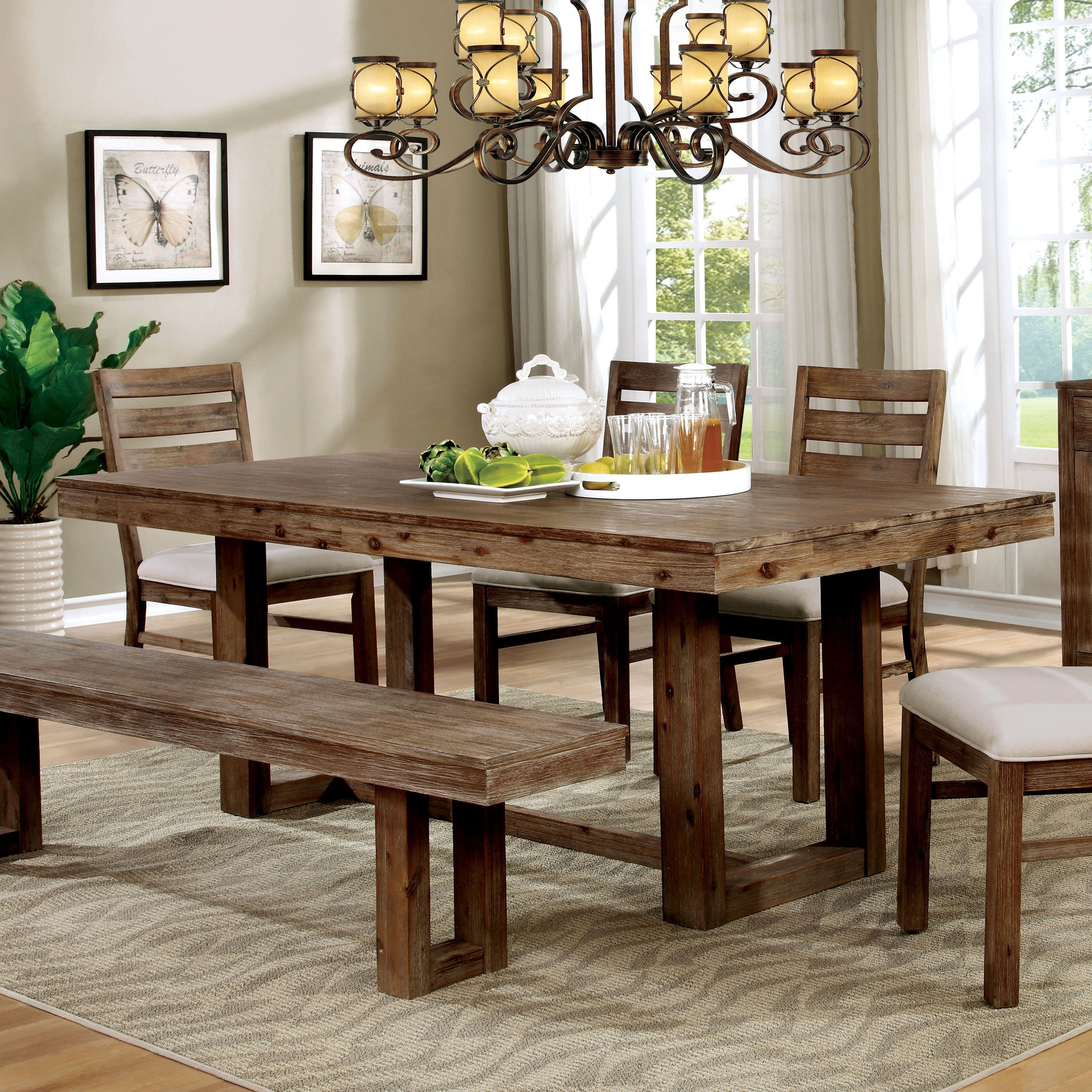 Rustic Gray Extending Dining Table Set