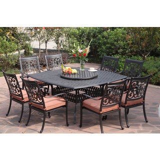 Darlee St.Cruz Antiqued Cast-aluminum 10-Piece Dining Set with Spicy Chili Seat Cushions and 30-inch Lazy Susan