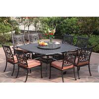 Darlee St.Cruz Antiqued Cast-aluminum 10-Piece Dining Set with Spicy Chili Seat Cushions and 30-inch Lazy Susan - Antique Bronze