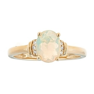 Anika and August 10k Yellow Gold Ethiopian Opal and Diamond Accent Ring