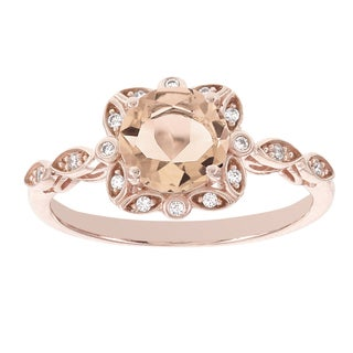 H Star 14k Rose Gold Oval Morganite Halo and Diamond Accent Engagement Ring (I-J, I2-I3)