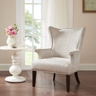 Maison Rouge Cabot Creme Sculpted Fabric Wing Chair