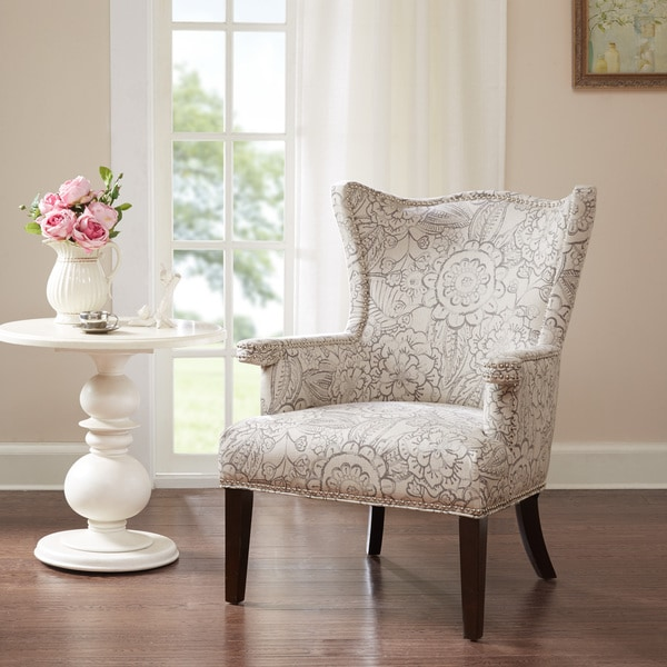 Cabot Grey Sculpted Fabric Wing Chair Free Shipping