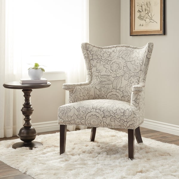 Charmant Cabot Grey Sculpted Fabric Wing Chair