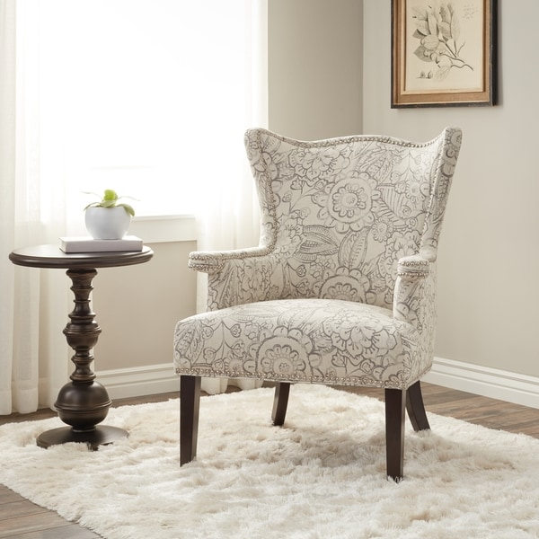 Ordinaire Cabot Grey Sculpted Fabric Wing Chair