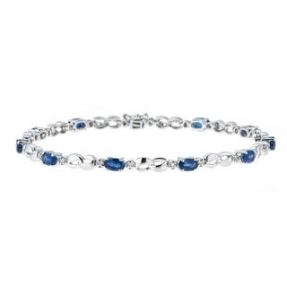 Anika and August 14k White Gold Blue Sapphire and 1/4ct TDW Diamond Bracelet (G-H, I1-I2)