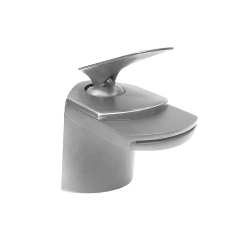 Novatto Wave Brushed-nickel Brass Single-lever Deck Mount Waterfall Faucet