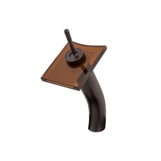 Novatto Squared Oil Rubbed Bronze Brass and Tea Glass Single-lever Deck-mount Waterfall Vessel Faucet