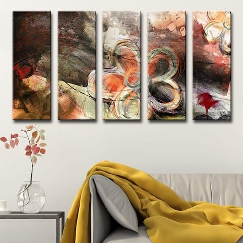 Ready2HangArt 'Painted Petals XV' 5-Pc Canvas Wall Art Set