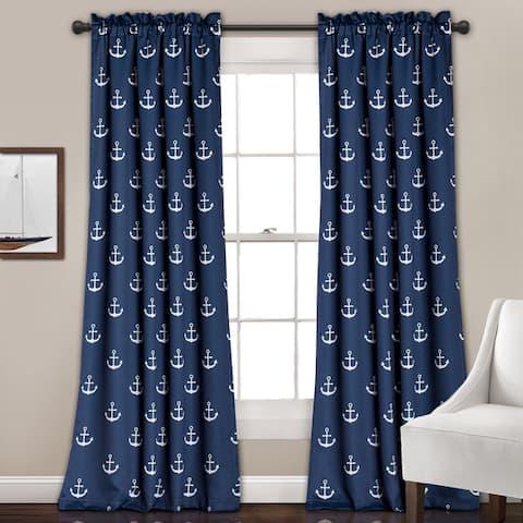 Lush Decor Anchor Room-darkening Window Panel Curtain Pair