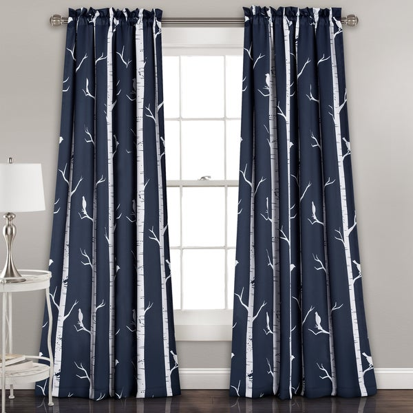 "Lush Decor Bird on the Tree Room Darkening Window Curtain Panel Pair - 52""W x 84""L"