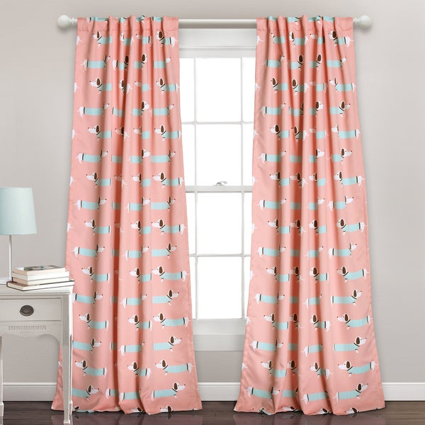 Lush Decor Sausage Dog Room Darkening Blue/Pink Window Curtain Panel ...