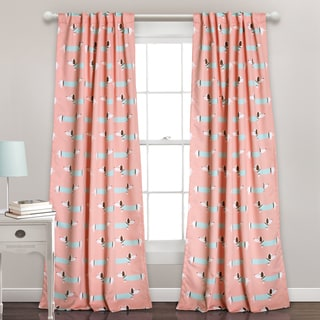 Lush Decor Sausage Dog Room Darkening Blue/Pink Window Curtain Panel Pair