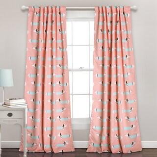 Lush Decor Sausage Dog Room Darkening Blue/Pink Window Curtain Panel Pair - 52 x 84