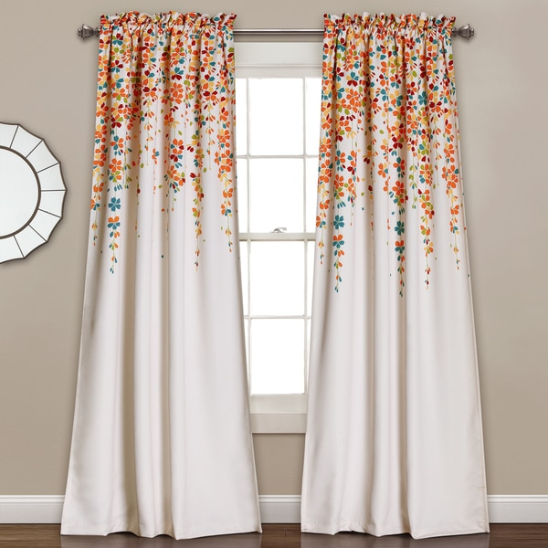 Modern Window Curtain With Flower Design: Lush Decor Weeping Flowers Room-darkening Window Curtain